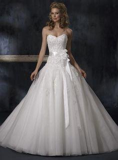 Ideas for My Own Wedding Dress- Maggie Sottero - Claudette - dropped waist ballgown - strapless sweetheart neckline