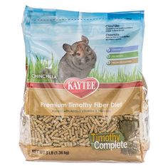 Kaytee Timothy Complete Chinchilla food is a pelleted daily diet made with nutritious sun-cured Timothy Hay combined with other essential ingredients necessary for your Chinchilla. Aids the natural digestive process of Chinchillas by providing fiber.