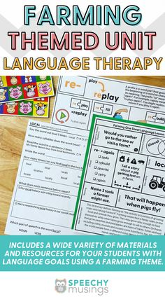 Have you ever wished you had a bundle of themed Speechy Musings resources at the ready for certain themes or times of year? Look no further! This themed language therapy unit includes a wide variety of materials and resources for your speech therapy students with language goals using a farming theme. Targets core vocabulary (help, eat), Basic concepts (dirty, full), Categories (food, farm animals), Describing (farm animals, farm tools, farmer), and more. #speechtherapy #farmactivities Sensory Activities For Autism, Speech Therapy Activities, Language Activities, Receptive Language, Speech And Language, Figurative Language Activity, Farm Tools, Farm Animals, The Unit