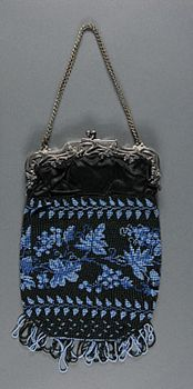 Woman's Bag    Made in United States  c. 1890    Artist/maker unknown, American    Silk satin with beads; metal frame  9 1/2 x 6 1/4 inches (24.1 x 15.9 cm)