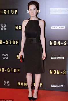 Non-Stop style: Michelle Dockery opted for a simple yet sophisticated short black dress on Monday evening for the premiere of her latest mov...