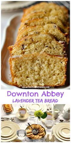 """Enjoy Downton Abbey Lavender Tea Bread (tea loaf) recipe for your next """"tea,"""" along wtih pictures and stories from Highclere Castle, Hampshire, England. Lavender Tea Bread Recipe, Lavender Recipes, Just Desserts, Delicious Desserts, Dessert Recipes, Yummy Food, Picnic Recipes, Health Desserts, Afternoon Tea Recipes"""