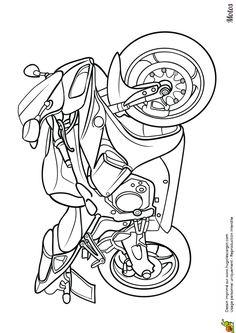 Coloriage d'une belle moto de compétition