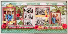 Tropical scrapbook double page layout lots of pictures 2 vertical 4x6 2 horizontal 4x6 7 photos