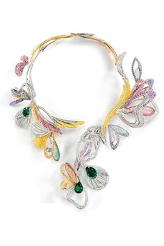 Boucheron Joaillerie Reveal Latest Collections - Bouquet d'Ailes necklace. Emeralds, diamonds, sapphires, morganites, tourmalines, white, pink and yellow gold