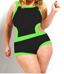 Sexy Scoop Collar Color Block Hollow Out Plus Size Women's Swimwear