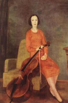 Woman with Violoncello II by Berény Róbert, 1937, oil on canvas, 152x102 cm, private collection  The model  was Eta Breuer, wife of the artist. She prepared to become a violoncellist before she married Berény, but after the wedding, she gave it up.