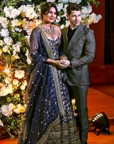 Priyanka Chopra And Nick Jonas Look Like A Dream As They Host Their Wedding Reception In Mumbai - HungryBoo Desi Wedding Dresses, Asian Wedding Dress, Indian Wedding Outfits, Bridal Outfits, Indian Outfits, Bridal Dresses, Indian Groom Dress, Indian Gowns, Indian Designer Outfits