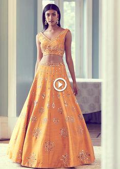 Dark Cheddar Yellow Lehenga Choli With Hand Embroidered Sheesha Work, Desi Wedding Dresses, Indian Wedding Outfits, Bridal Dresses, Half Saree Designs, Lehenga Designs, Indian Designer Outfits, Designer Dresses, Indian Designers, Indian Lehenga