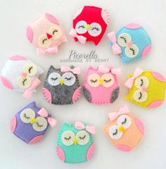 A set of Felt Owl Party Favor, Felt Owl Baby Shower Favor, Felt Owl Plush, Felt Owl Ornaments · Picorella · Online Store Powered by Storenvy Owl Ornament, Felt Ornaments, Owl Party Favors, Birthday Favors, Felt Keychain, Keychains, Felt Owls, Felt Animals, Felt Patterns