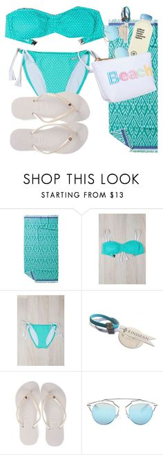 """beach"" by sanddollardubai ❤ liked on Polyvore featuring John Robshaw, Sunseeker, Havaianas, Christian Dior and Avery"