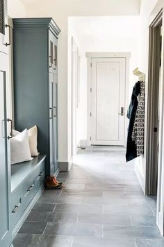 7 Entryway and Mudroom Ideas That Make Storage Stylish Laundry Room Tile, Room Tiles, Grey Slate Tile, White Storage Bench, Upholstery Fabric For Chairs, Slate Flooring, Design Blogs, White Doors, Entryway Decor