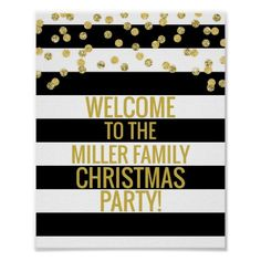 Black Stripe Gold Confetti Welcome Christmas Party Poster - modern gifts cyo gift ideas personalize