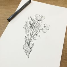 ∥ Conch∥ Bouquet∥ 소라, 꽃 ∥  #illust #tattoo #꽃 #wonseok #Flowertattoo #플라워… Hair Tattoos, Sister Tattoos, Wrist Tattoos, Flower Tattoos, Sexy Tattoos, Cool Tattoos, Tattoo Sketches, Tattoo Drawings, Flower Drawings