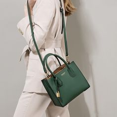 Women's Simply Green Leather Tote Bag Vintage Shoulder Bags with Lock