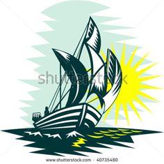illustration of a sailboat sailing on high seas with sun #sailboat #woodcut #illustration