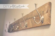 Diy Pallet Coat Rack - made from pallet wood and $3 hooks from Lowes