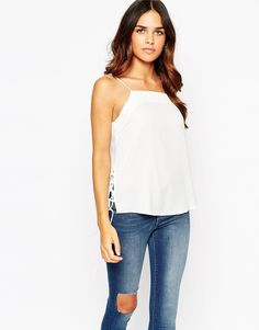 Image 1 of ASOS Cami with Lace Up Side Detail