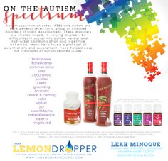 Oils for Autism! Young Living Essential Oils are the best! Essential Oils For Autism, Therapeutic Grade Essential Oils, Essential Oil Uses, Young Living Essential Oils, Lemon Dropper, Yl Oils, Living Essentials, Young Living Oils, Essential Oils