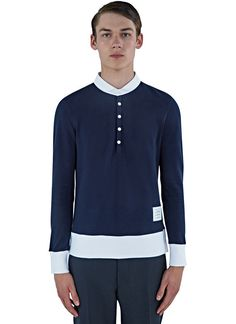 Men's Tops - Clothing | Find more at LN-CC - Classic Piqué Long Sleeved Polo Sweater