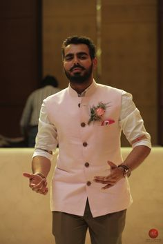 Get this tone of Pink for your ethnic wear. Only at Inchstreet. Mens Indian Wear, Mens Ethnic Wear, Indian Groom Wear, Indian Men Fashion, Mens Fashion Suits, Wedding Dresses Men Indian, Wedding Dress Men, Nehru Jacket For Men, Waistcoat Men
