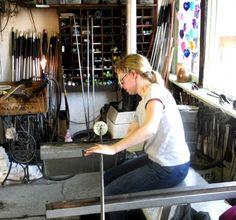 Corrina Field in her glass work studio