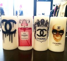 These candles are handmade and printed with your favorite designer logos. They are Chanel inspired and are such a unique item to put around your Gucci Bedding, Parfum Chanel, Chanel Decor, Welcome To My House, Luxury Candles, Candels, Handmade Candles, Love Craft, Beauty Room