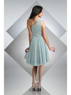 Knee-length Sophisticated Chiffon A-line One Shoulder Bridesmaid Dress