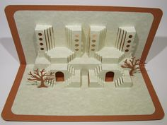 Home Decor 3D Pop up Card ORIGINAL Handmade Origamic Architecture DESIGN of Landscape With Columns and Stairs in Ivory and Brown OoAK SIGNED. $45.00, via Etsy.  SO COOL!!