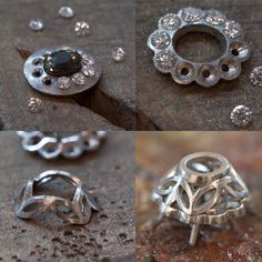 Alexandrite and diamond cluster pendant handmade in platinum Diy Jewelry Rings, Wire Jewelry, Jewelry Sets, Jewelry Crafts, Jewelery, Handmade Jewelry, How To Make Rings, Metal Clay Jewelry, Silver Work