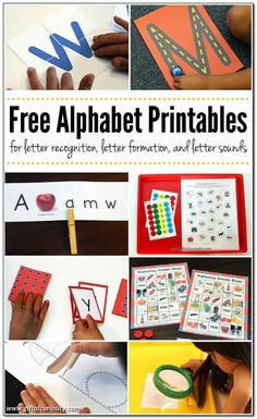 Free Alphabet Printables for letter recognition, letter formation, letter sounds, and uppercase and lowercase letter matching Kids Learning Activities, Alphabet Activities, Language Activities, Fun Learning, Preschool Alphabet, Educational Activities, Teaching Ideas, Free Alphabet Printables, Alphabet Crafts