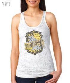 Harry Potter Inspired Clothing - Vintage Hufflepuff Crest Burnout Racerback Tank - Ladies