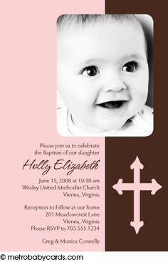 Photo Baptism/Christening Invitations :: Blessed Pink Design