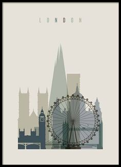 London Skyline Poster in the group Prints / Maps & cities at Desenio AB Retro Poster, Poster Vintage, Vintage Travel Posters, Skyline Von London, Arte Punk, Image Deco, Poster Online, Kunst Poster, Modern Art Prints