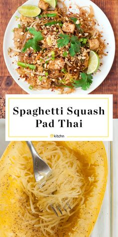 Spaghetti Squash Pad Thai It has all the hallmarks of your favorite takeout pad Thai — except those spaghetti squash noodles are the star of the show. This HEALTHY Clean Eating, Healthy Eating, Vegetarian Recipes, Cooking Recipes, Healthy Recipes, Vegetarian Pad Thai, Catering Recipes, Paleo Meals, Lamb Recipes