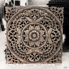 Thai Wooden Wall Panel. Wall Hanging. Floral Wood by SiamSawadee