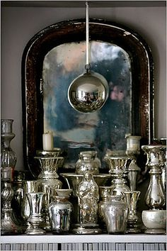 silver pieces, mercury glass, old mirror = win Vintage Silver, Antique Silver, Tarnished Silver, Sterling Silver, Mercury Glass, Vignettes, Antiques, Lights, Inspiration