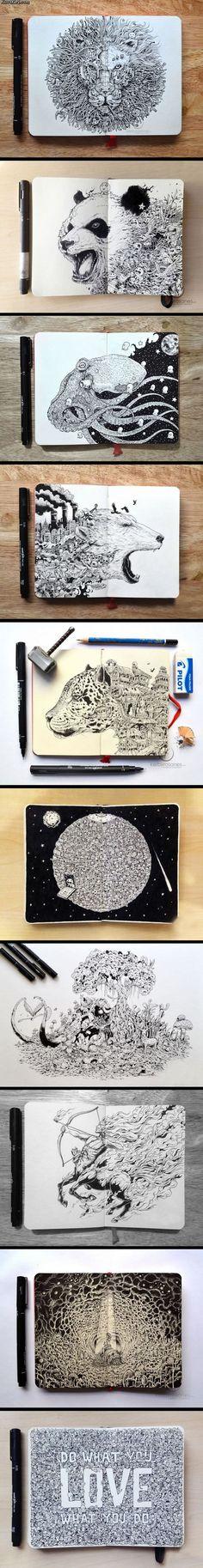 Funny pictures about Hyper-Detailed Drawings. Oh, and cool pics about Hyper-Detailed Drawings. Also, Hyper-Detailed Drawings photos. Amazing Drawings, Detailed Drawings, Cool Drawings, Amazing Art, Animal Drawings, Pretty Drawings, Moleskine, Arte Sketchbook, Pen Art