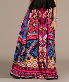 Love this Pink & Black Abstract Maxi Skirt by Flying Tomato on #zulily! #zulilyfinds