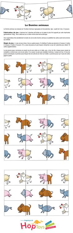 Le Domino des Animaux Farm Animal Crafts, Animal Projects, Animals For Kids, Farm Animals, Printable Board Games, Farm Unit, School Games, Creative Teaching, Worksheets For Kids