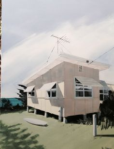 Coolum Terrace Acrylic on canvas SOLD Surf Shack, Beach Shack, Beach Houses, Beach Cottages, Mid Century Art, Good House, Urban Landscape, Dream Houses, Cityscapes