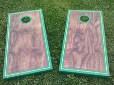 These had a red oak finish with a green boarder and a yellow pinstripe