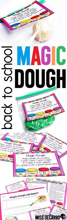 Magic Dough and lab report for the first day of school! - WITH colorful tags or labels that have an adorable poem attached. Directions for making the magic dough, as well as a general lesson plan is included, too! Your kids will have SO much fun with this activity during the first week of school. Perfect for back to school season.