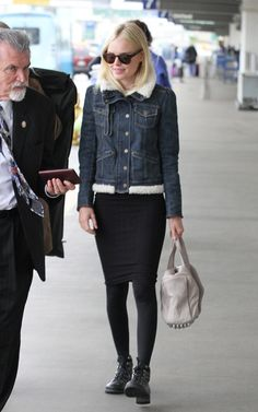Kate Bosworth: denim jacket + bandage skirts + tights + black shoes : fall outfit, quirk
