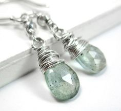 Aquamarine Earrings, Sterling Silver March Birthstone Genuine Gemstone
