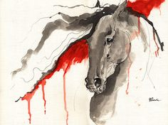 Wild horse acrylic and ink painting on paper by AngelHorses