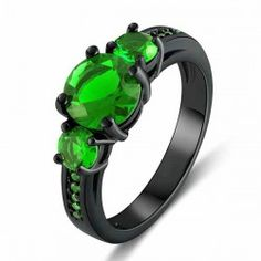 Exquisite Emerald Engagement / Wedding Ring Women's Black Gold Filled Ring