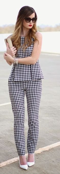 Gingham Suit Outfit Idea by For All Things Lovely women fashion outfit clothing style apparel @roressclothes closet ideas
