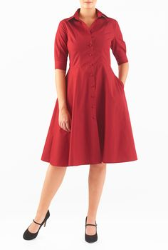 Our cotton poplin shirtdress is capped with a spread collar and the seamed waist nips in the silhouette above a flared skirt that gently swishes as you move.