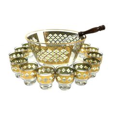 Vintage Culver Valencia Green & Gold Punch Bowl Set with 12 Punch Cups and Ladle Asking: $140